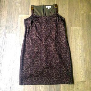 Michael Kors | Brown and green leopard print dress